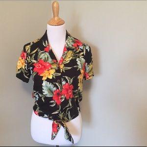 Hawaiian Tie Top Short Sleeve